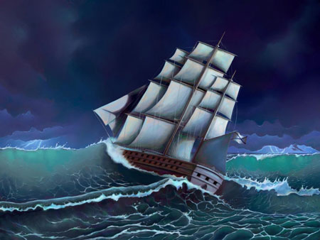 Segelschiff im Wellengang