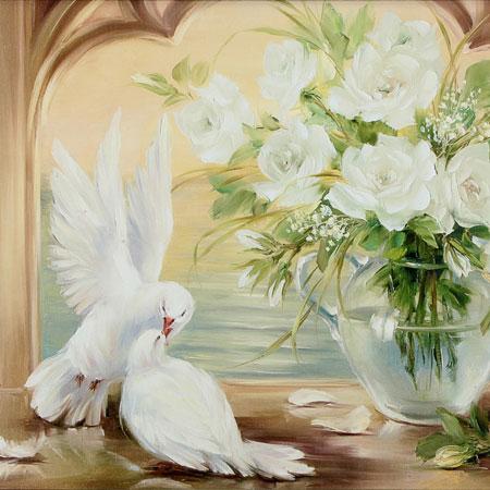 Tauben und weiße Rosen