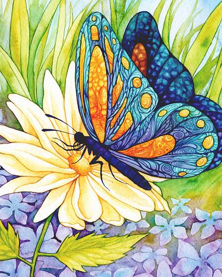 Malen nach Zahlen Bild Schmetterling auf der Blume - AZ-1129 von Sonstiger Hersteller