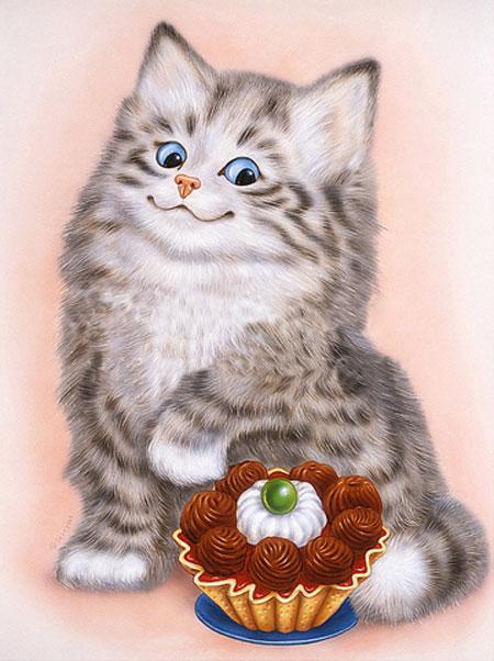 Katze und Cupcake