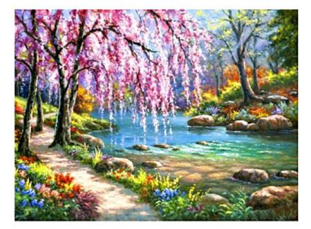 Malen nach Zahlen Bild Sakura am Flusslauf - AZ-1328 von Sonstiger Hersteller