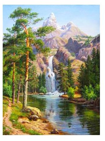 Malen nach Zahlen Bild Wasserfall in den Bergen - AZ-1347 von Sonstiger Hersteller