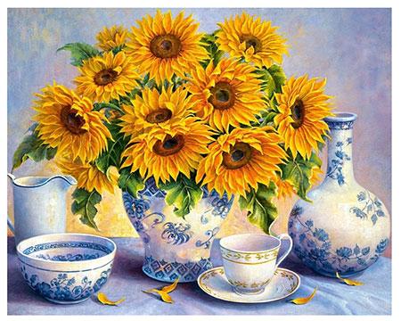 Malen nach Zahlen Bild Sonnenblumen Bukett - AZ-1366 von Sonstiger Hersteller