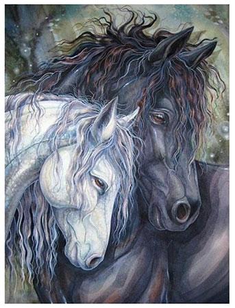 Malen nach Zahlen Bild Verliebte Pferde - AZ-1386 von Sonstiger Hersteller