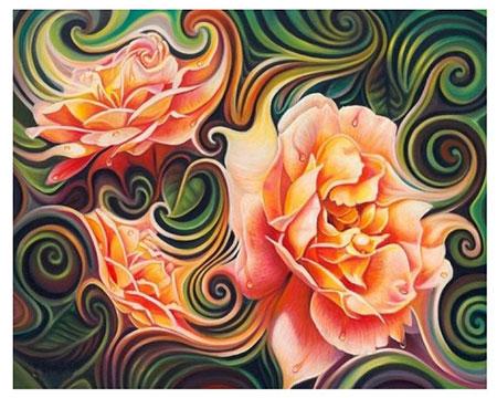 Malen nach Zahlen Bild Abstrakte Rosen - AZ-1393 von Sonstiger Hersteller