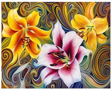 Malen nach Zahlen Bild Drei abstrakte Lilien - AZ-1394 von Sonstige