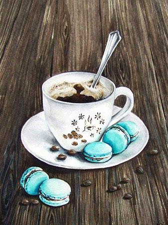 Malen nach Zahlen Bild Makronen und Kaffee - AZ-1433 von Sonstiger Hersteller