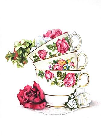 Malen nach Zahlen Bild Teetassen - AZ-1436 von Sonstiger Hersteller