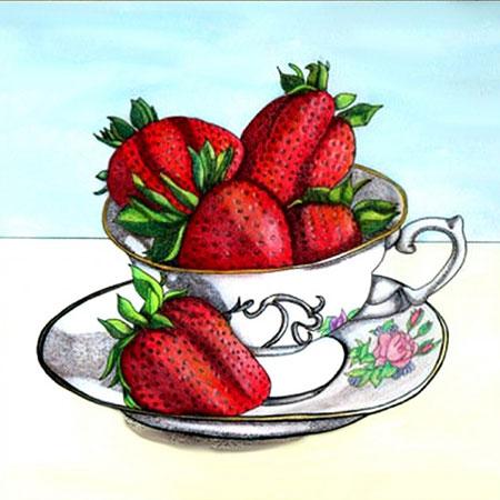 Malen nach Zahlen Bild Erdbeeren in der Tasse - AZ-1439 von Artibalta