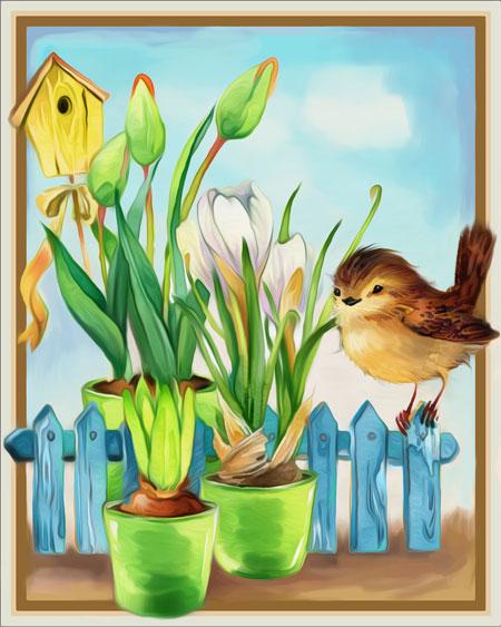 Singvogel auf dem Zaun
