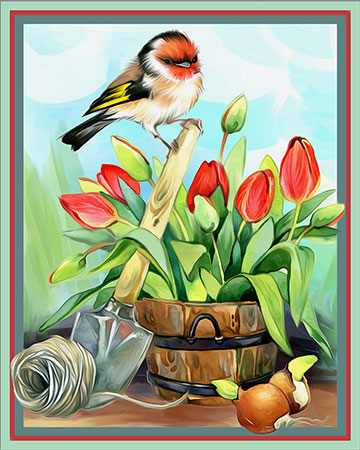 Vogel bei den Tulpen