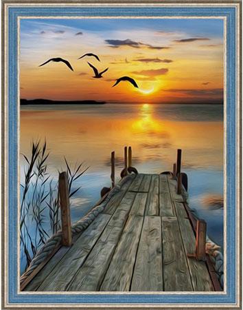 Malen nach Zahlen Bild Sonnenuntergang am See - AZ-1493 von Sonstiger Hersteller