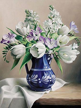 Malen nach Zahlen Bild Weiße Tulpen in der Vase - AZ-1503 von Sonstiger Hersteller