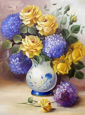 Malen nach Zahlen Bild Rosen und Hortensien - AZ-1508 von Sonstiger Hersteller