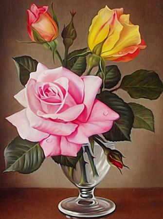 Malen nach Zahlen Bild Rosen im Glas - AZ-1513 von Sonstiger Hersteller