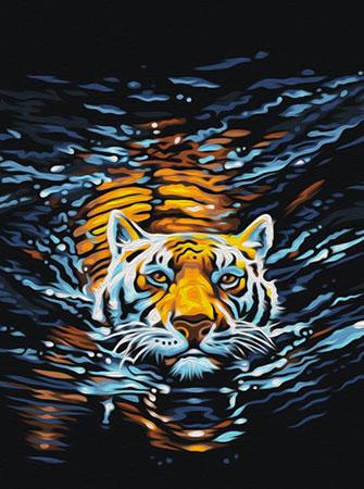 Malen nach Zahlen Bild Schwimmender Tiger - AZ-1521 von Sonstiger Hersteller