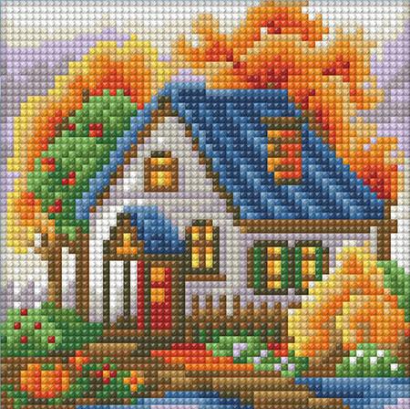 Malen nach Zahlen Bild Haus im Herbst - AZ-1565 von Sonstiger Hersteller