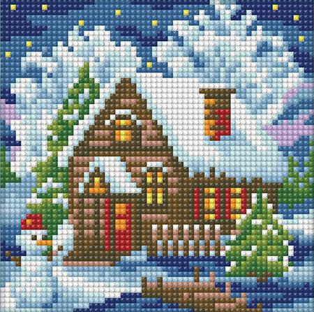 Malen nach Zahlen Bild Haus im Winter - AZ-1566 von Sonstiger Hersteller