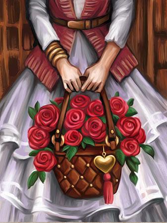 Tasche mit Rosenstrauß
