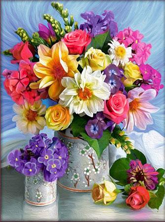Blühende Sommerblumen in der Vase
