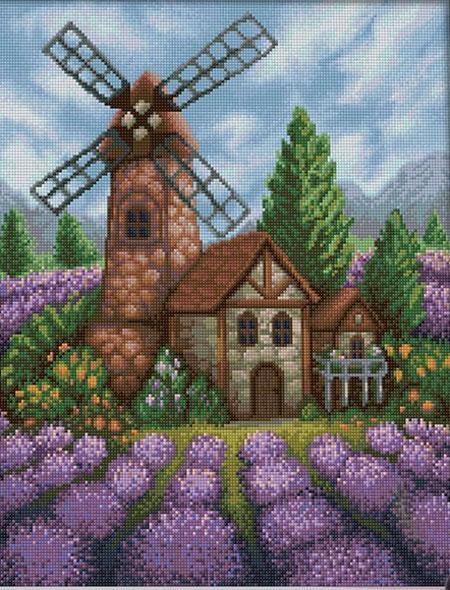 Windmühle im Blumenfeld