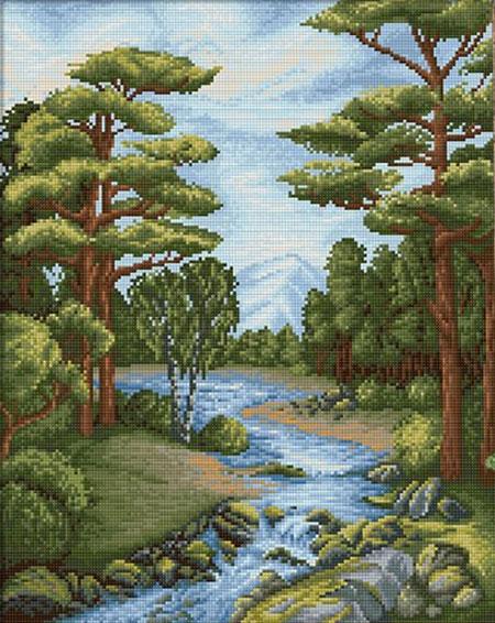 Malen nach Zahlen Bild Idyllischer Fluss im Wald - AZ-1652 von Sonstiger Hersteller