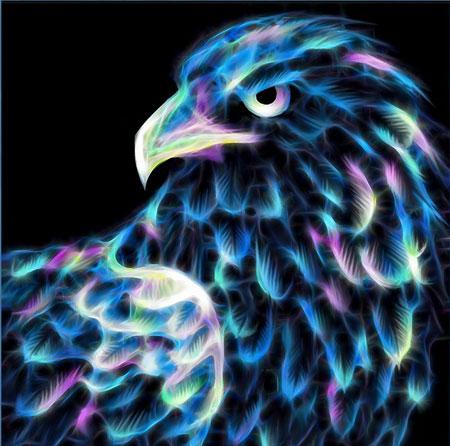Malen nach Zahlen Bild Neon Adler - AZ-1712 von Sonstiger Hersteller