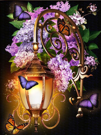 Lilien im Laternenschein