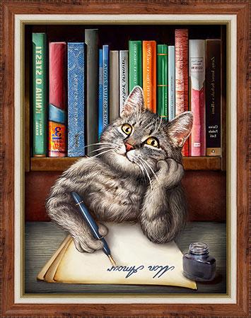 Schreibende Katze