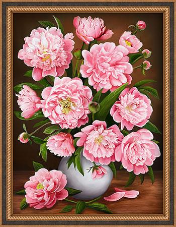 Malen nach Zahlen Bild Rosa Blumenvase - AZ-1732 von Sonstiger Hersteller