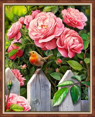 Malen nach Zahlen Bild Vogel im Garten - AZ-1743 von Sonstiger Hersteller