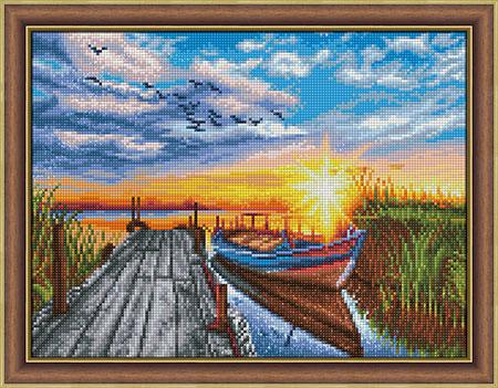 Malen nach Zahlen Bild Sonnenuntergang am Bootssteg - AZ-1790 von Sonstiger Hersteller