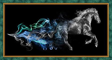 Pferd im Rauch