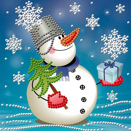 Schneemann mit Geschenk