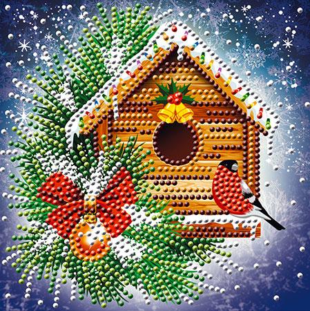 Vogelhaus zur Weihnachtszeit