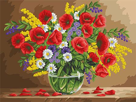 Malen nach Zahlen Bild Duftende Mohnblumen - B105 von Artibalta
