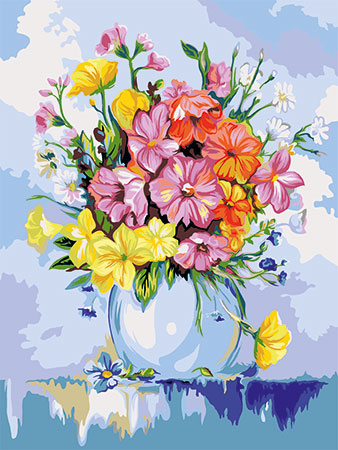 Malen nach Zahlen Bild Zarte Sommerblumen - B106 von Artibalta