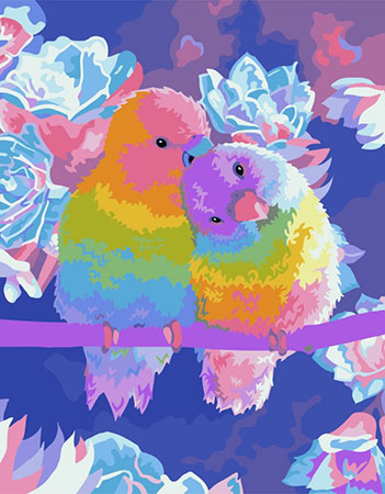 Malen nach Zahlen Bild Papageienpäärchen  - H065 von Artibalta