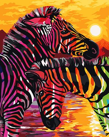 Malen nach Zahlen Bild Bunte Zebras - H069 von Sonstiger Hersteller