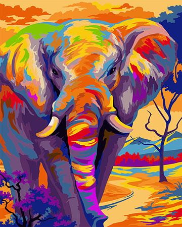 Malen nach Zahlen Bild Farbenfroher Elefant - H081 von Sonstiger Hersteller