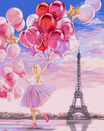 Malen nach Zahlen Bild Luftballons über Paris  - J040 von Artibalta