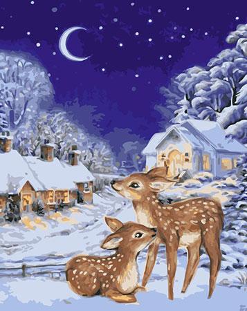 Malen nach Zahlen Bild Ruhiger Winterabend  - L037 von Artibalta