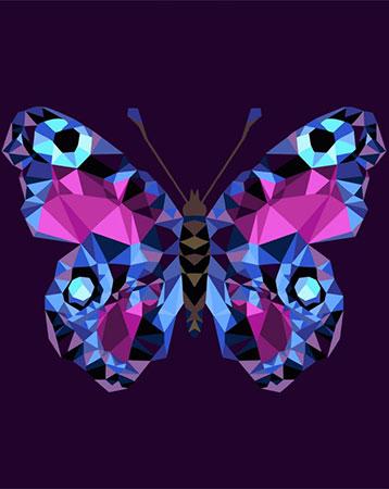 Malen nach Zahlen Bild Polygon Schmetterling  - P003 von Artibalta