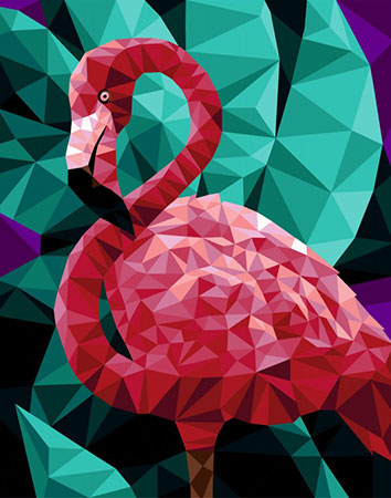 Malen nach Zahlen Bild Polygon Flamingo - P005 von Artibalta