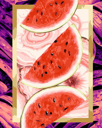 Malen nach Zahlen Bild Saftige Melonenstücke  - R021 von Artibalta