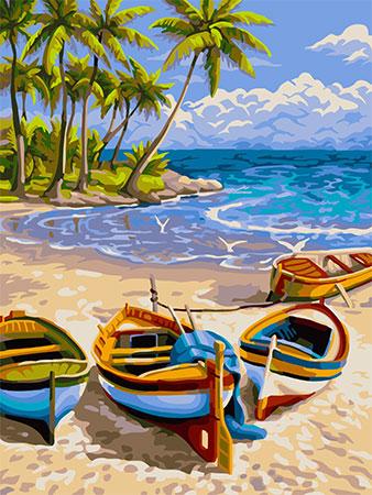 Malen nach Zahlen Bild Bunte Boote am Strand - S016 von Sonstiger Hersteller