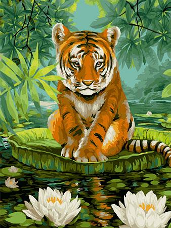 Malen nach Zahlen Bild Tiger mit Wasserlilien - S052 von Sonstiger Hersteller