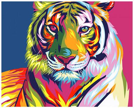Malen nach Zahlen Bild Regenbogenfarbener Tiger - T40500071 von Sonstiger Hersteller
