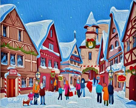Malen nach Zahlen Bild Weihnachten im Dorf - T40500170 von Sonstiger Hersteller