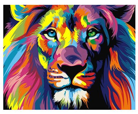 Regenbogenfarbener Löwe